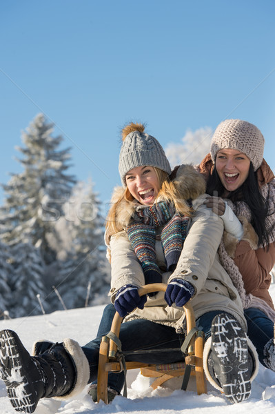 Laughing teenagers sledge downhill in wintertime  Stock photo © CandyboxPhoto