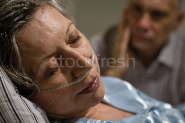 Close up of woman with nasal cannula Stock photo © CandyboxPhoto