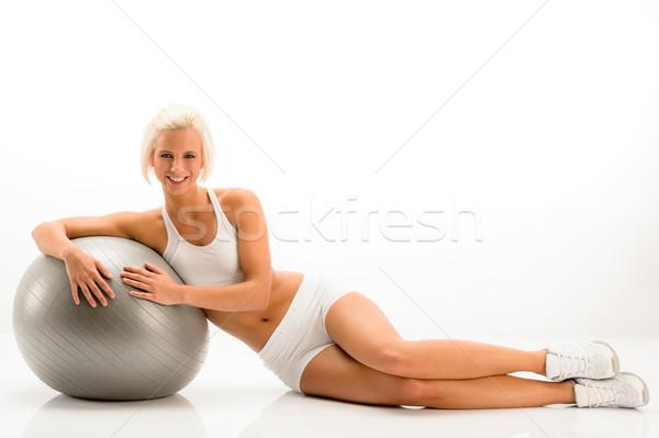 Nő fehér fitnessz testmozgás labda dől Stock fotó © CandyboxPhoto