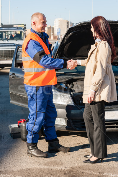 Woman greeting mechanic after her car breakdown Stock photo © CandyboxPhoto