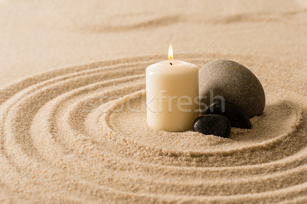 Spa atmosfera Świeca zen kamienie piasku Zdjęcia stock © CandyboxPhoto