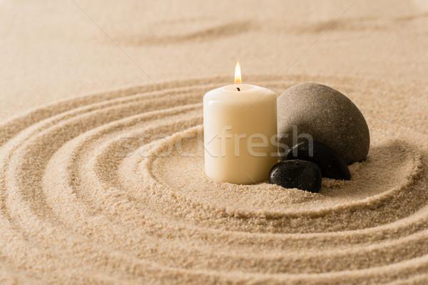 Spa atmosfeer kaars zen stenen zand Stockfoto © CandyboxPhoto