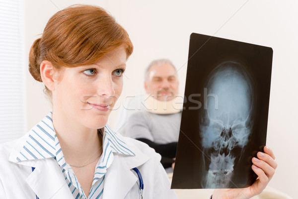 Doctor office - female physician x-ray patient Stock photo © CandyboxPhoto