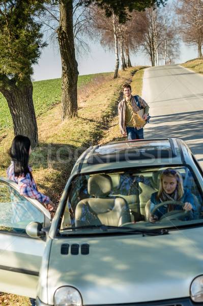 Hitch-hiking parked car girl friends offer lift Stock photo © CandyboxPhoto