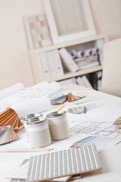 Oficina decorador de interiores pintura color diseno mesa Foto stock © CandyboxPhoto