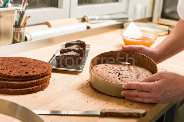 Cook taking out cake from cake form Stock photo © CandyboxPhoto