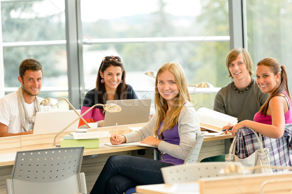 Stock photo: Student back to school in library study