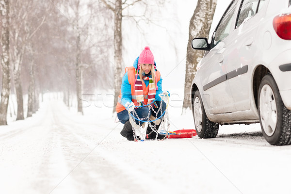 Woman with tire chains car snow breakdown Stock photo © CandyboxPhoto