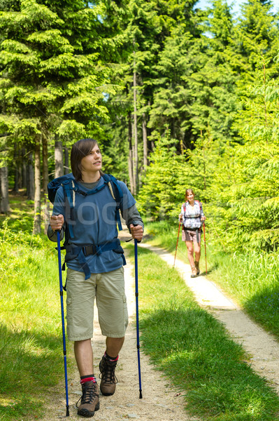 Teen hikers trekking in pine forest Stock photo © CandyboxPhoto
