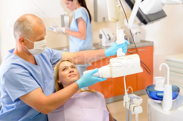 Raio x cirurgia dentária paciente dentista mulher Foto stock © CandyboxPhoto