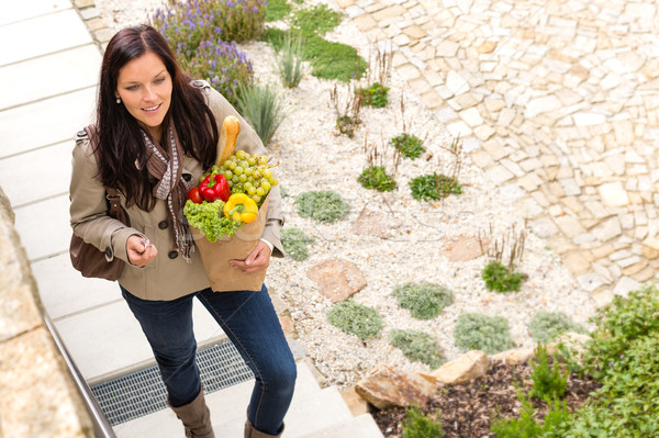 Young woman arriving home groceries shopping smiling Stock photo © CandyboxPhoto