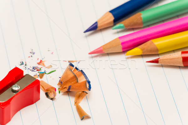 Color pencils and sharpener shaving  Stock photo © CandyboxPhoto