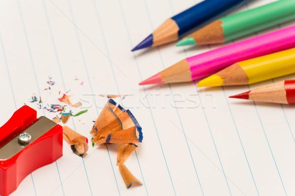 Szín ceruzák ceruzahegyező vissza az iskolába papír iskola Stock fotó © CandyboxPhoto