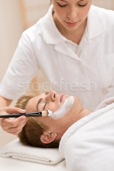 Foto stock: Masculino · cosméticos · máscara · salão · luxo · estância · termal