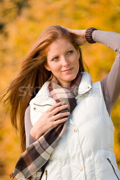 Automne parc longtemps femme mode Photo stock © CandyboxPhoto