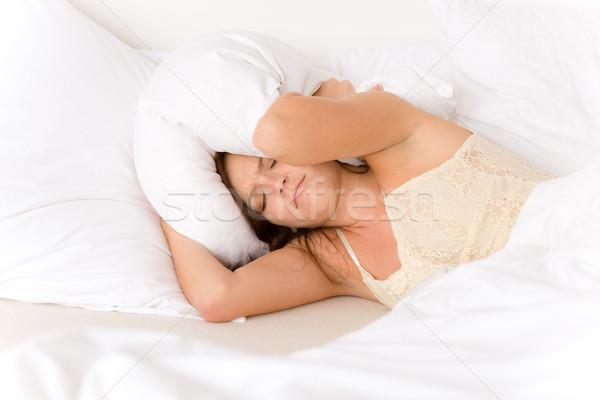Camera da letto pigro donna up relax interni Foto d'archivio © CandyboxPhoto