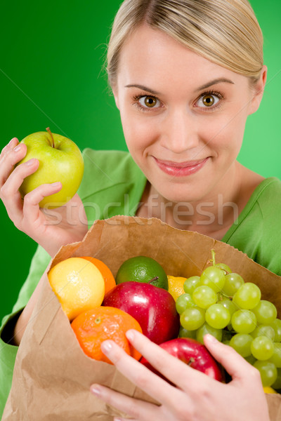 Photo stock: Femme · fruits · Shopping · vert