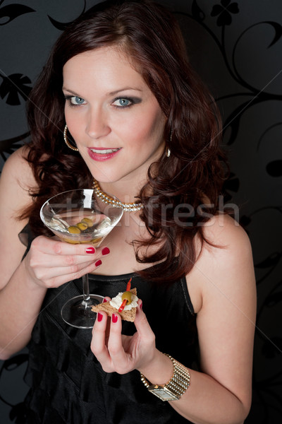 Cocktail party vrouw champagne snack avondkleding voorgerechten Stockfoto © CandyboxPhoto