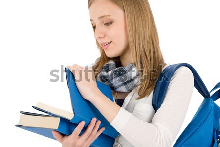 Student teenager woman with schoolbag read books Stock photo © CandyboxPhoto