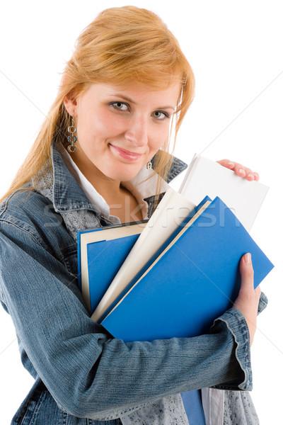 Student jonge vrouw houden boeken jonge gelukkig Stockfoto © CandyboxPhoto
