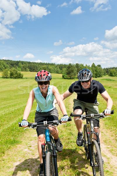 Foto d'archivio: Sport · mountain · bike · uomo · spingendo · giovane · ragazza · sereno