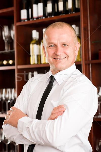 Borozó pincér boldog férfi étterem pózol Stock fotó © CandyboxPhoto
