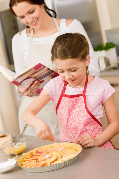 Young girl prepare apple pie with mother Stock photo © CandyboxPhoto