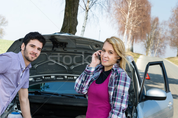 Car breakdown couple calling for road assistance Stock photo © CandyboxPhoto
