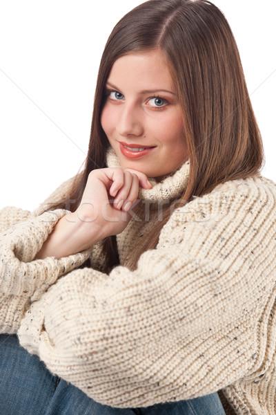 Foto stock: Retrato · belo · mulher · jovem · gola · olímpica · branco