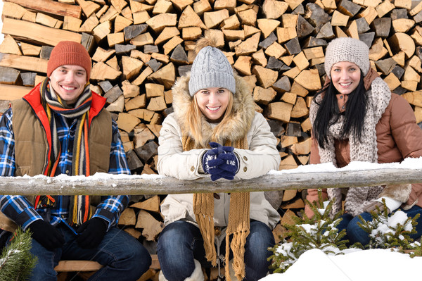 Stock fotó: Fiatalok · ül · kívül · tél · ruházat · fa