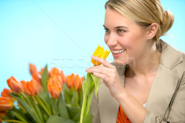 женщину один желтый Tulip весенние цветы улыбаясь Сток-фото © CandyboxPhoto