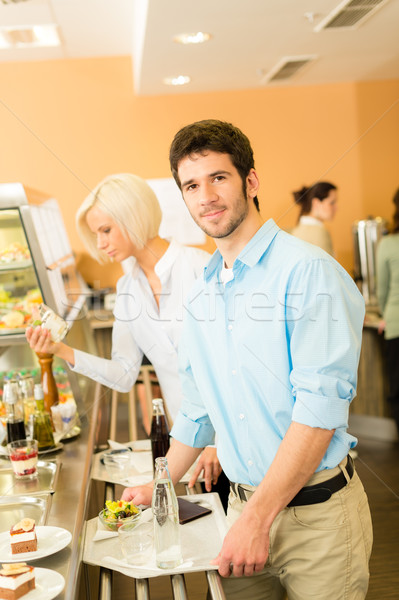 Business colleagues at cafeteria with serving tray Stock photo © CandyboxPhoto