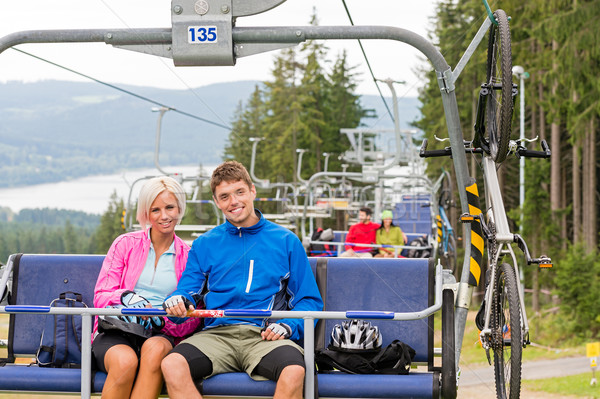 Chair lift going through forest couple sitting Stock photo © CandyboxPhoto