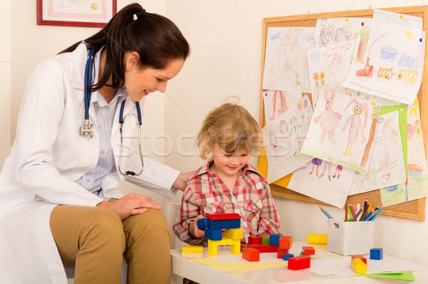 Ziyaret çocuk doktoru çocuk kız oynama kadın Stok fotoğraf © CandyboxPhoto