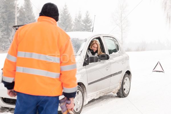 Man helping woman car breakdown assistance snow Stock photo © CandyboxPhoto