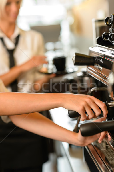 Close up hands waitress make coffee  Stock photo © CandyboxPhoto