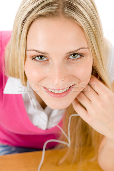 Cheerful student woman listen to music Stock photo © CandyboxPhoto