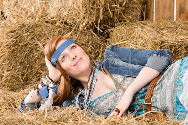Jonge hippie vrouw hooi ontspannen jonge vrouw Stockfoto © CandyboxPhoto