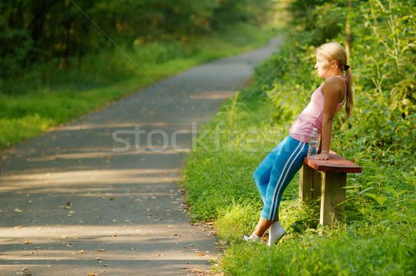 Foto d'archivio: Bella · giovani · runner · giovane · ragazza · foresta · ragazza
