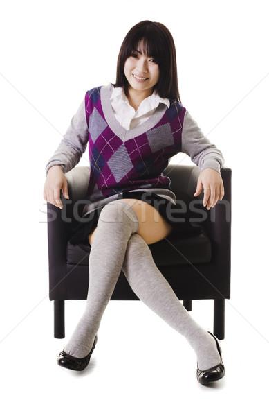 Kínai iskolás lány portré diák iskolai egyenruha ül Stock fotó © cardmaverick2