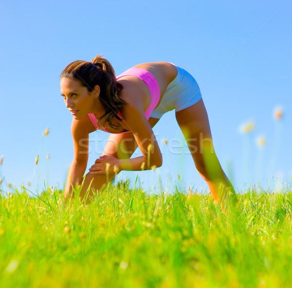 спортивный женщину луговой полный Сток-фото © cardmaverick2