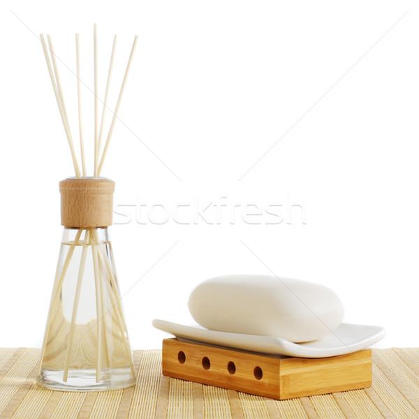 Foto stock: Spa · escena · jabón · blanco · fondo · belleza
