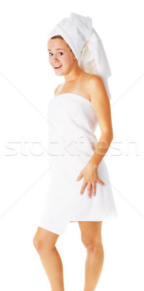 Gyönyörű fiatal fürdő nő fehér teljes Stock fotó © cardmaverick2