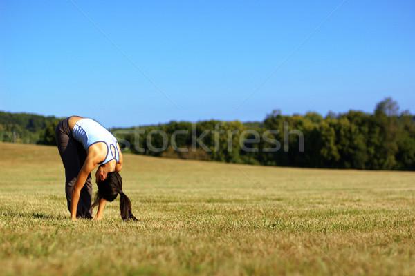 девушки йога области лет луговой Сток-фото © cardmaverick2
