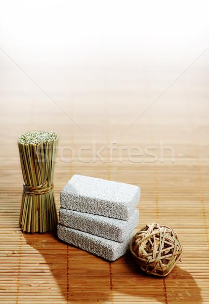 Spa pantalla bambú belleza relajarse piedra Foto stock © cardmaverick2
