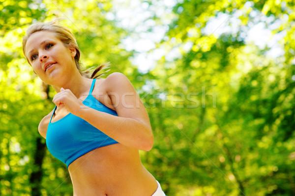 Genç kadın orman yol spor doğa Stok fotoğraf © cardmaverick2