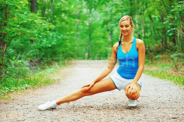 Stok fotoğraf: Yol · koşucu · kadın · egzersiz · fotoğrafları