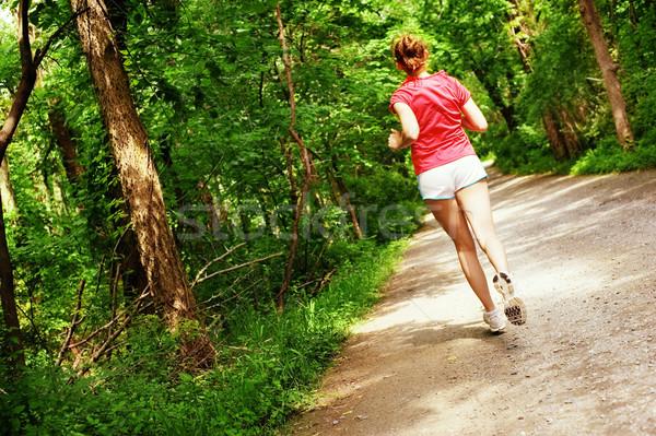 Foto stock: Mujer · rojo · ejecutando · camino · corredor