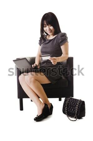 Chino mujer compras línea tarjeta de crédito nina Foto stock © cardmaverick2