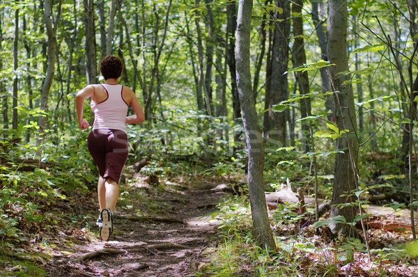 Mujer madura corredor ejecutando forestales mujer primavera Foto stock © cardmaverick2